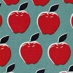 Cotton + Steel PICNIC Äpfel blaugrau rot