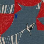 Kokka Echino FLAG Wimpel Vögel grau