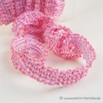 elastische Vichy-Rüsche weiß rosa