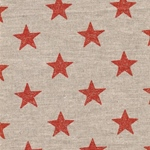 Engl. Dekostoff Leinen STARS orange