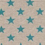 Engl. Dekostoff Leinen STARS aqua