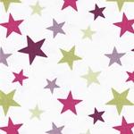 Engl. Dekostoff FUNKY STARS purple