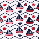 Jersey Segelboote rot weiß blau