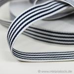 Gurtband 35 mm Streifen weiß navy