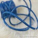 Kunstleder-Kordel Glitzer 7 mm blau
