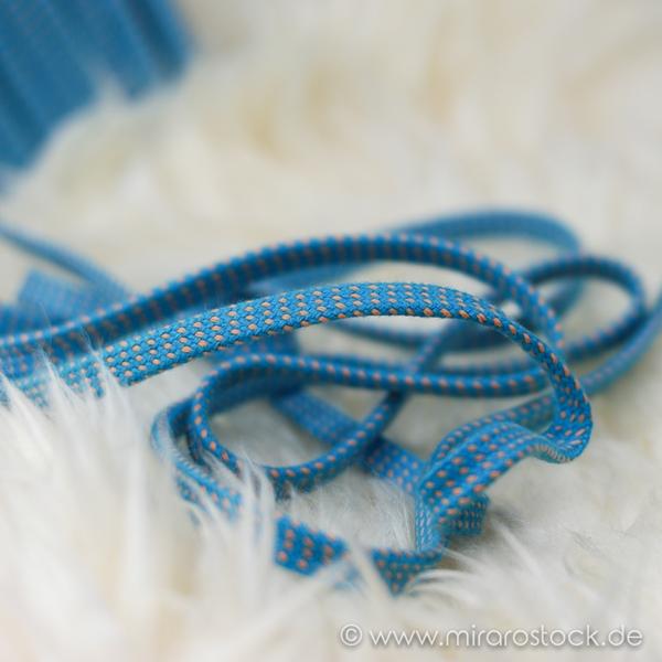 Hoodieband Flachkordel 10 mm türkis beig