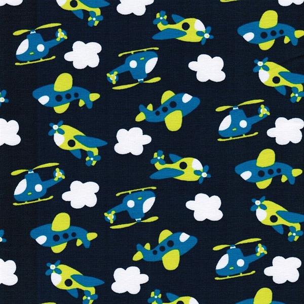 Baumwoll-Jersey FLY SKY dunkelblau