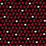 MINI PRINTS Webstoff Äpfel schwarz rot