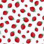 MINI PRINTS Webstoff Erdbeeren weiß