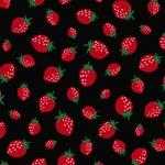 MINI PRINTS Webstoff Erdbeeren schwarz