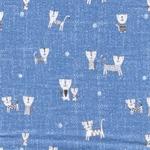 MIRIAM Double Gauze Musselin Katze blau
