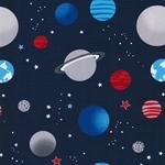 PLANETES Popeline Planeten dunkelblau