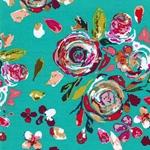 SWIFTING FLORA Jersey Blumen jadegrün