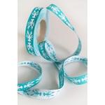 Farbenmix Webband HUMMER smaragd weiß