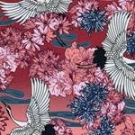 Viskose-Jersey Kraniche Blumen koralle
