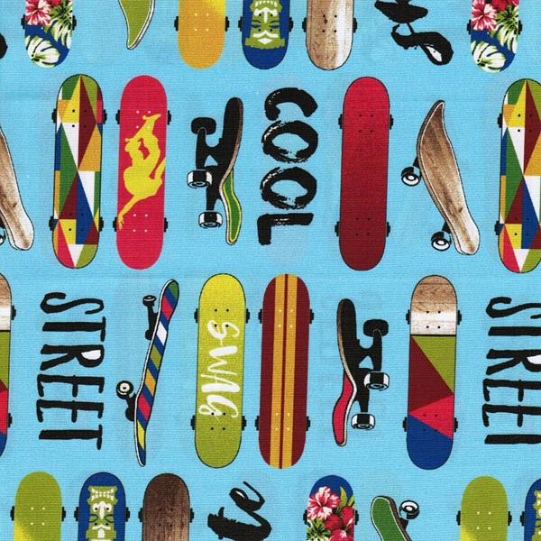 COOL GUYS Popeline Skateboards hellblau