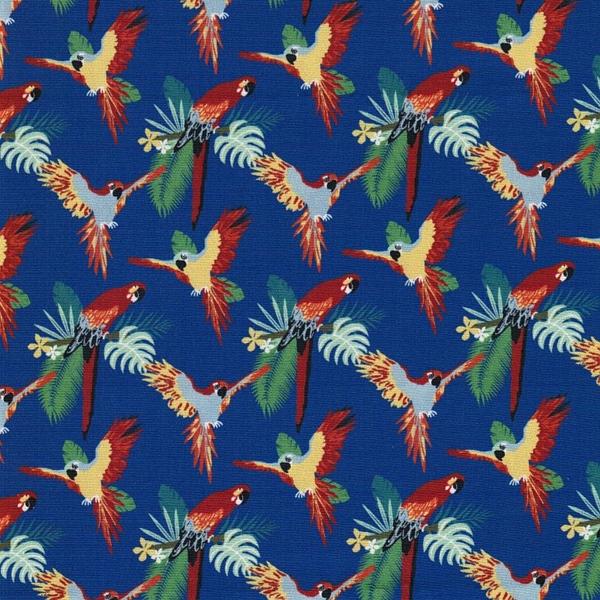 TROPIC PAPAGAO Popeline Papageien blau