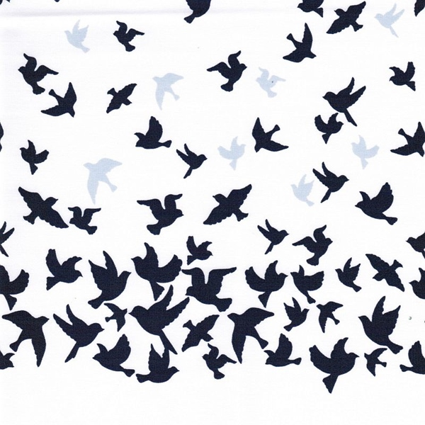 BLUE BIRD BORDER Popeline Bordüre Vögel