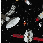 SPACEWALK Webstoff Raumsonden schwarz