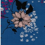 SELINA Viskosejersey Blütendruck blau