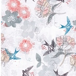 MARBELLA Webstoff Schwalben Blumen weiß