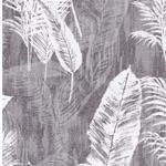 BORNEO Canvas Blätter grau weiß