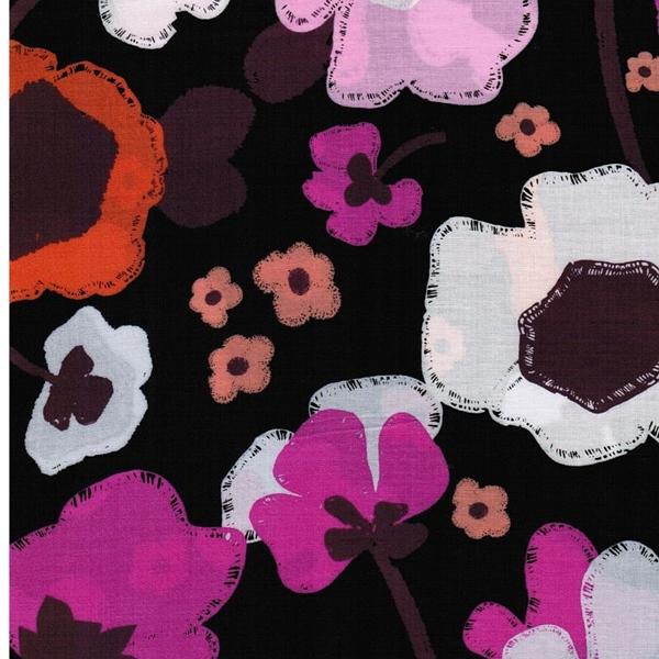 BRAVE BLOOMED CITY Rayon Blumen schwarz