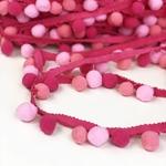 Pomponborte medium 25mm mehrfarbig pink