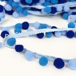 Pomponborte medium 25mm mehrfarbig blau