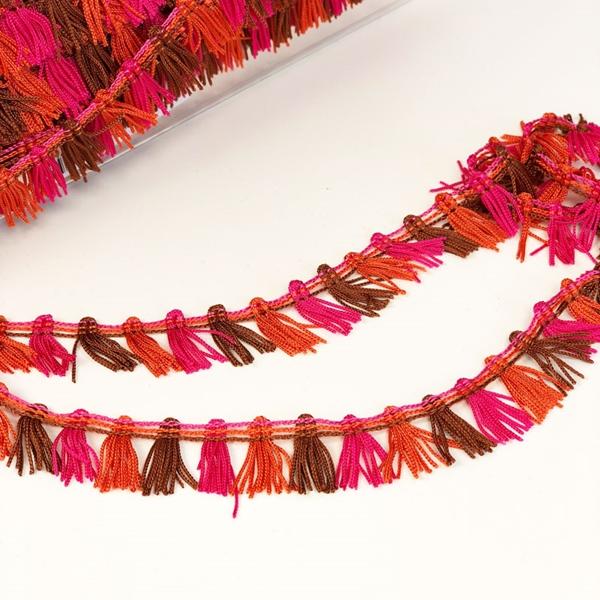 Fransenborte 20 mm pink orange braun