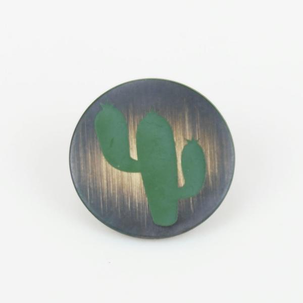 Metallknopf mit Öse 20 mm Kaktus messing