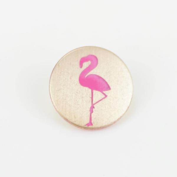 Metallknopf mit Öse 20 mm Flamingo gold