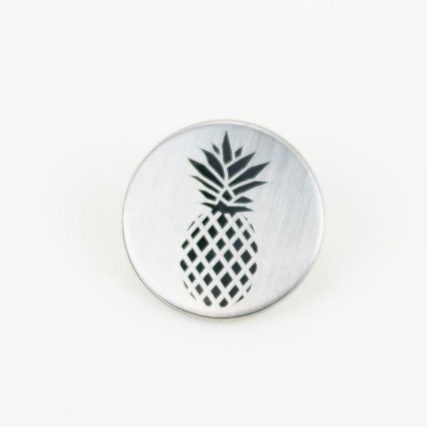 Metallknopf mit Öse 20 mm Ananas silber