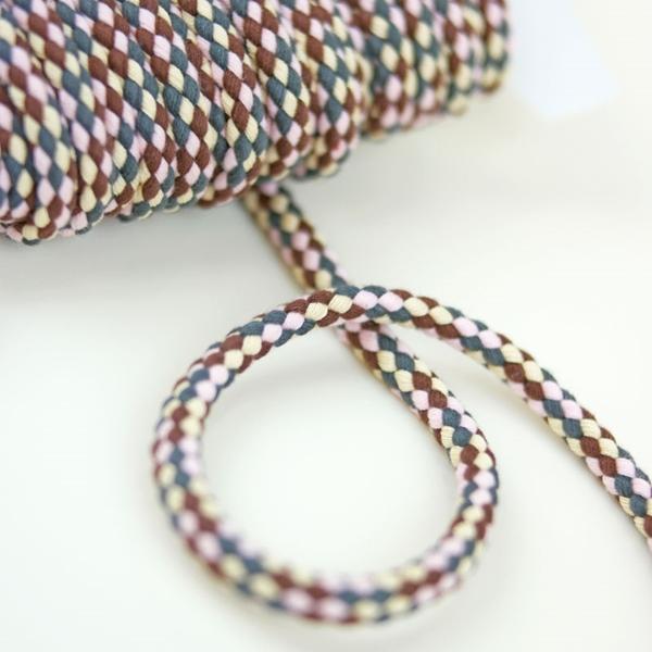breite Kordel mehrfarbig 8 mm braun rosa