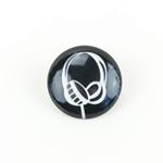 Polyesterknopf mit Öse Kopfhörer schwarz