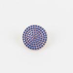 Metallknopf mit Öse 10 mm kupfer blau