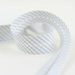 Schrägband Streifen 30 mm grau weiß