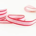 Ripsband Fischgrat 15 mm rot weiß