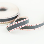 Köperband 15 mm sand jeans rot