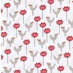 BIRD GARDEN Webware Vögel Bumen weiß rot