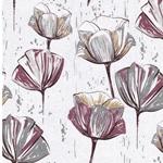 MINA Canvas Blumen cremegrau beere