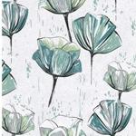 MINA Canvas Blumen cremegrau petrol
