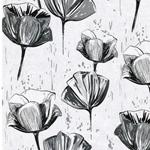 MINA Canvas Blumen cremegrau grau