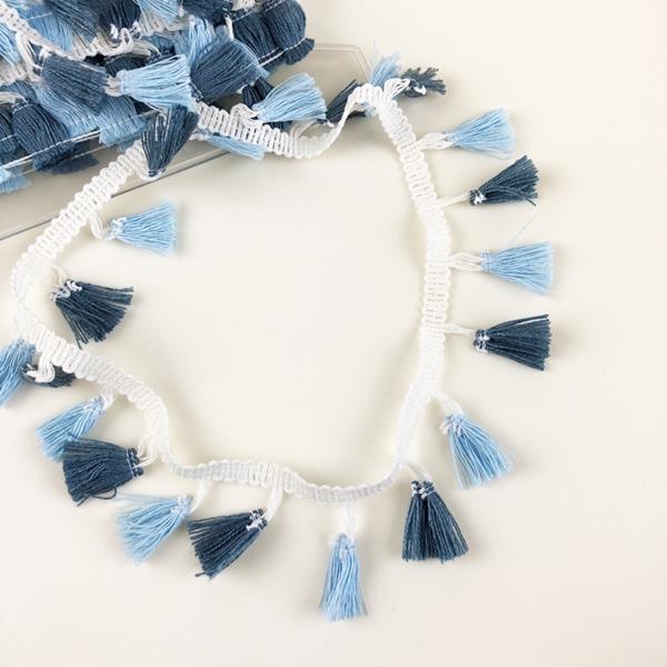 Tasselborte 42 mm hellblau jeansblau