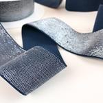 Gummiband Lurex 40 mm blau silber