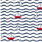 BW-Jersey Wellen Segelboote Möwen weiß