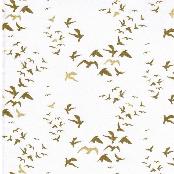 BIRDS Webware weiß oliv gold-metallic