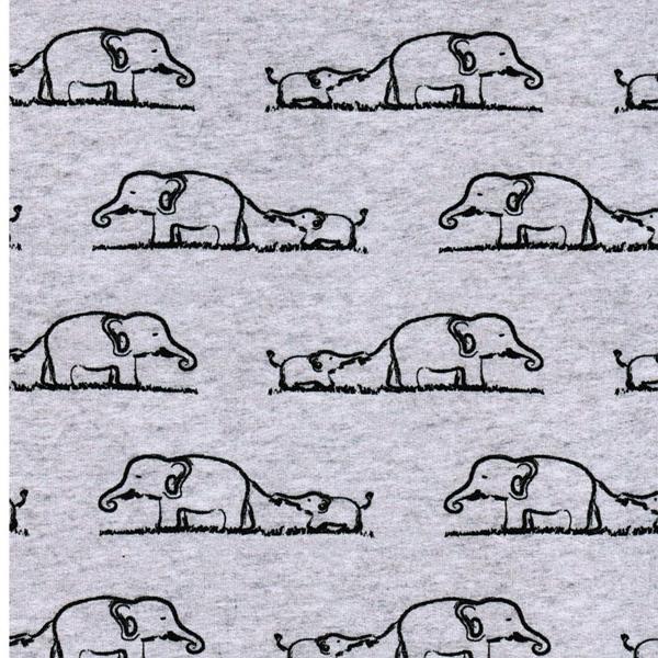 French Terry Elefanten grau