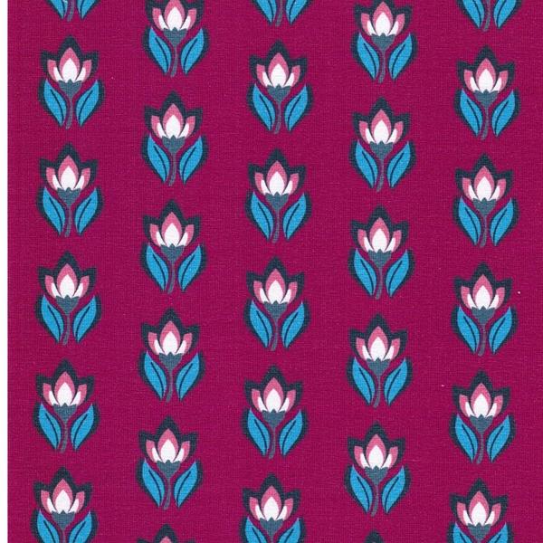 FLOWER BUDS Jersey Blumen fuchsia