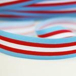 Gummiband 35 mm hellblau rot weiß